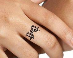 Tatouage temporaire Bow Finger faux tatouages mince Durable