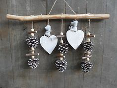 ° ^ ° Mobile ZAPFEN ° ^ ° Wood Natural Deco Handmade Heart Hanger Window Advent Source by silke Christmas Makes, Noel Christmas, Christmas Crafts, Christmas Ornaments, Pine Cone Art, Pine Cone Crafts, Valentine Decorations, Flower Decorations, Christmas Decorations