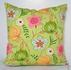 Pillow Cover in Multi Floral on Lime Green  18 inch by MaryLittfin, $18.00