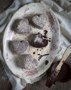 The Kate Tin: Microwave Double Chocolate Lamingtons Candy Recipes, Sweet Recipes, Dessert Recipes, No Bake Desserts, Microwave Desserts, Valentine Cake, Valentines, Homemade Brownies, Fairy Cakes