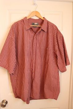 Kodiak Men's Short Sleeve Red Orange Plaid Button Down Shirt Size 3XL EUC #Kodiak #ButtonFront