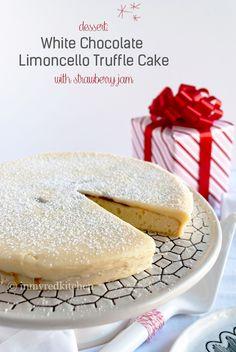 White chocolate limoncello truffle cake