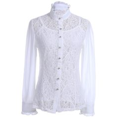 Anna-Kaci S/M Fit White Victorian Floral Lace High Neck Detachable... ($23) ❤ liked on Polyvore featuring tops, blouses, white lace blouse, white top, high neck blouse, victorian lace blouses and floral top