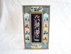 Vintage Persian Art, Hand Painted Wood Framed Metalwork / Metal Art