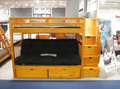 Loft Bed With Futon And Desk   futon bunk beds twin over futon stairway bunk bed honey