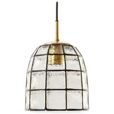 Limburg Iron Glass and Brass Pendant Light, 1960s | From a unique collection of antique and modern chandeliers and pendants at https://www.1stdibs.com/furniture/lighting/chandeliers-pendant-lights/