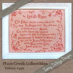 The Lord's Prayer Embroidery Pattern #356