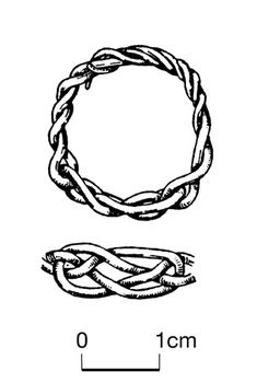 Gold ring made of two tapering round-sectioned hammered gold wires, which are looped in their centres and interlacted to make an openwork knot, which forms the bezel of the ring: the two sets of free ends are twisted to form the hoop, all the loose ends converting at the back into a four-strand twist.