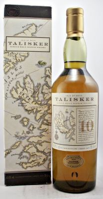 Talisker Scotch Whisky 10 year old Map bottle 45.8% 70cl Old style obsolete Map box and bottle of Talisker 10 year old Single Malt Scotch Whisky for the collector.