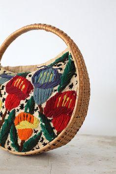 vintage 60s bag / embroidered basket bag by 86Vintage86 on Etsy