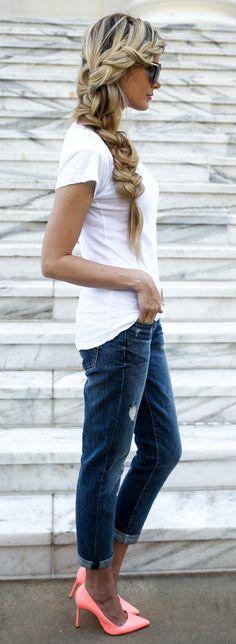 Simple jeans + statement heels.