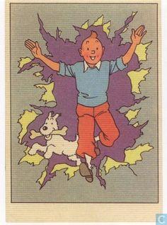 Carte postale - Remi, Georges - Kuifje en Bobbie