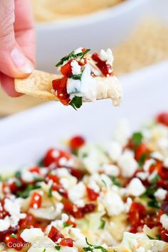 Healthy Mediterranean 7-Layer Dip Recipe | #vegetarian #superbowl #appetizer #cleaneating