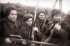 Russian female snipers.   Initially, in 1941, the thousands of women who volunteered to enlist were turned away or relegated to industry work on the home front or medical service.  About 800,000 women served in the Russian army during WWII. Around 200,000 were decorated and 89 received the highest ranking award, the Hero of the Soviet Union.