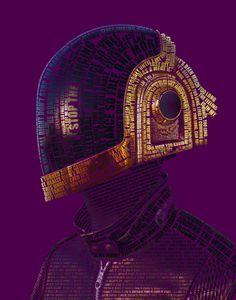 Portrait typographique de Daft Punk