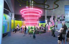 Energy exhibit - Discovery Park of America #neon #light #energy