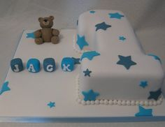 Great idea for a cake I need to do. Little Cubes spelling out the name.