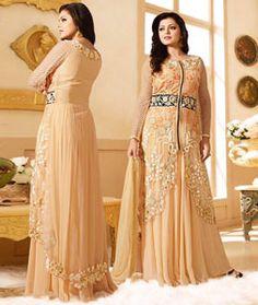 Drashti Dhami Beige Net Bollywood Suit 74230