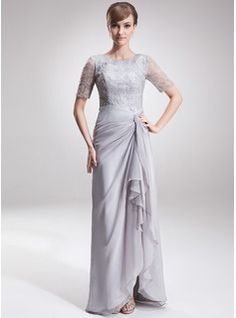 A-Line/Princess Scoop Neck Asymmetrical Chiffon Lace Mother of the Bride Dress With Ruffle (008005621) - JJsHouse