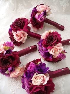 14 piece Package Sangria  Silk Rose Bridal  by modagefloral