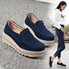 0339e06aa75 Womens Breathable Suede Round Toe Slip On Platform Shoes