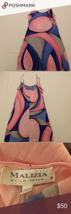 La Perla Malizia abstract silk nightie / slip Great condition, beautiful colors and pattern. The straps have been shortened (see last pic). No size tag, but fits like an XS/S. La Perla Intimates & Sleepwear Chemises & Slips
