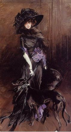 Marchesa Casati with greyhounds. Portrait by Giovanni Boldini, 1908 From the private collection of Andrew Lloyd Webber