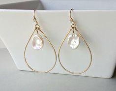 Keshi Pearl Hoop Earrings White Keshi Pearls by BellaAnelaJewelry