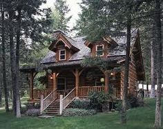 The small log cabin plans and pictures featured here showcase an enchanting storybook cabin on the Montana ranch of Jack Hanna. Log Cabin Homes, Log Cabins, Small Log Homes, Small Log Cabin Plans, Log Cabin House Plans, Log Cabin Living, Mountain Cabins, Little Cabin, Cabin Design