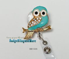Retractable Badge Holder |So Cute Owl, Turquoise - nurses/ professionals ID Badge Clip- (clear)RETRACTABLE /Swivel Reel/Spring Clip - Badge Holder BB1435