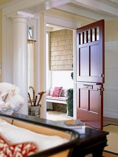 Entry Dutch Door Design, Pictures, Remodel, Decor and Ideas, love the bench