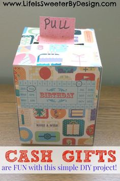 Do you want to give cash money as a birthday, holiday or graduation gift, but want to do more than just stick it in an envelope? This easy, fun, DIY idea using a simple tissue or kleenex box is the perfect way to give cash as a gift!