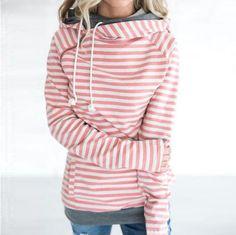 69d2cbe4f16 Double hood hoodies sweatshirt Women Autumn Winter Long Sleeve side zipper  Hooded Casual Patchwork Hoodies Pullover femme