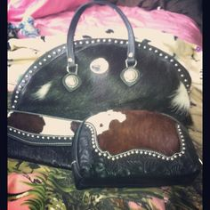 Cowhide/ skin purse, wallet & small make up bag.