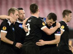 Viktoria Plzen: Celebrate during their 3-0 win at Napoli