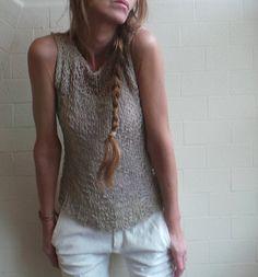 beige / Neutral cotton mix summer tank / vest by ileaiye on Etsy, $79.00
