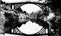 Iron bridge at the village of Ironbridge, Shropshire.