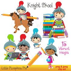 Knight Digital Clipart - Kid with Laptops, Kid with Computer, Education Graphics, School Clipart, Clipart books, Pencil clipart, card making