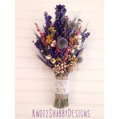 Wildflower bouquet - dried flowers - bridal bouquet - rustic - country - bridesmaid bouquets - purple - grey - cream - yellow - wheat -