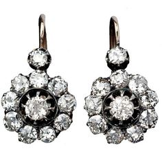 Russian Imperial Era Diamond Cluster Earrings ($9,600)