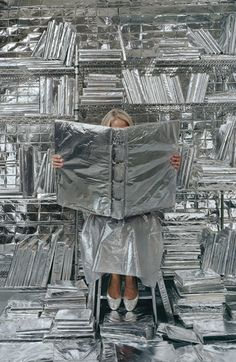 Artist Rachel Perry Welty finds the deadpan humor in the everyday things we often overlook ALL THINGS SILVER – backdrop idea of aluminum foil covered things? or just a wrapped canvas frame or something could be fun! Rachel Perry, Vitrine Design, Instalation Art, New Retro Wave, Creative Words, Oeuvre D'art, Art Direction, Editorial Fashion, Backdrops