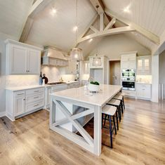Hardwoods Floors, Wideplank, Trusses, Vaulted Ceiling, Beam Design, Trim Detail, Shiplap Custom Kitchens, Kitchen Remodel Small, Kitchen Flooring, Large Dining Room, Vaulted Ceiling Kitchen, Kitchen Family Rooms, Beautiful Kitchens, Small House Vaulted Ceiling, Hearth Room