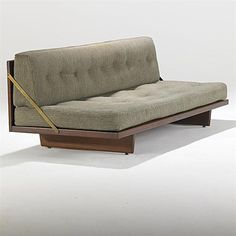 Børge Mogensen; Teak and Brass Daybed, 1950.