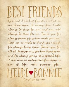 Custom Letter For Best Friend Art Friendship Poem Birthday Quotes