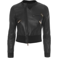 DSQUARED2 Contrast Biker Crop Black // Cropped leather jacket featuring polyvore, women's fashion, clothing, outerwear, jackets, genuine leather jackets, slim fit leather jacket, genuine leather biker jacket, zipper jacket and zip jacket