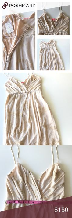 Free People Pink W/ Gold Skinny Strap Sz: 8 NWT NWT. Skinny straps V shape front. Blush pink dress w/ gold print around dress. Zippered side. Great for a girls night out or date night ♥️ Free People Dresses Midi