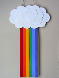 """Rainbow & Cloud craft for Noah's ark story - use foam core or card stock for clouds and ribbon scraps or foam sheets for rainbow. """"Whenever the rainbow appears in the clouds, I will see it and remember the everlasting covenant between God and all living creatures of every kind on the earth."""" - Genesis 9:16 (NIV)"""
