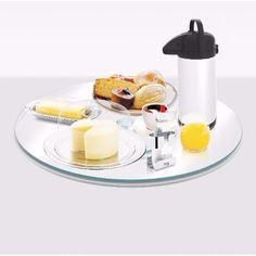 Prato de Vidro Giratório Ideal para Servir e Decorar Mesa de Café da Manhã em Casa ou Festas de Casamento e Aniversário.