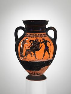 Obverse, Herakles wrestling the Nemean Lion<br/>Reverse, Herakles fighting Geryon<br/><br/>Group E is the name given to a workshop of painters active during the middle of the sixth century B.C. Exekias, the greatest black-figure artist, began among them
