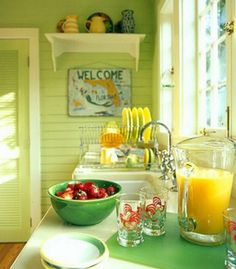 Lime Green Kitchen: http://www.completely-coastal.com/2016/05/lime-green-decor.html Happy and sunny... in a Florida cottage.
